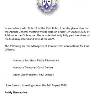 AGM Notice July 22nd