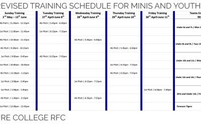 Revised Mini Rugby Schedule